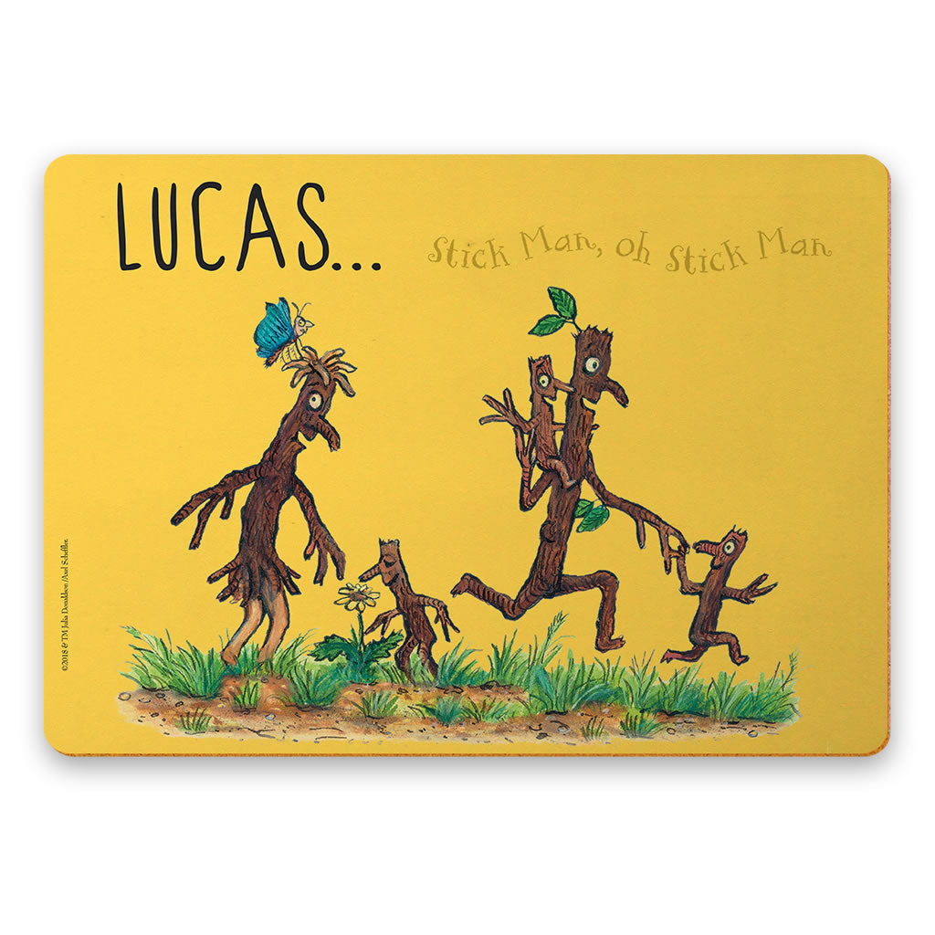 Yellow Stick Man Family Personalised Placemat