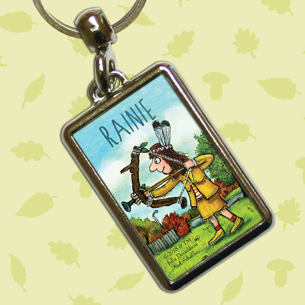 Bow and Arrow Stick Man Personalised Metal Keyring