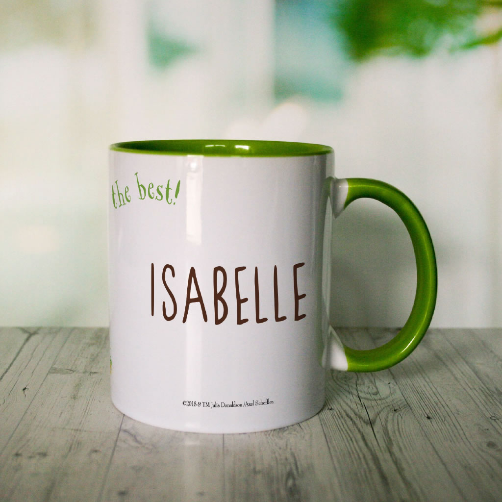 Green Stick Man Chase  Personalised Coloured Insert Mug (Lifestyle 2)