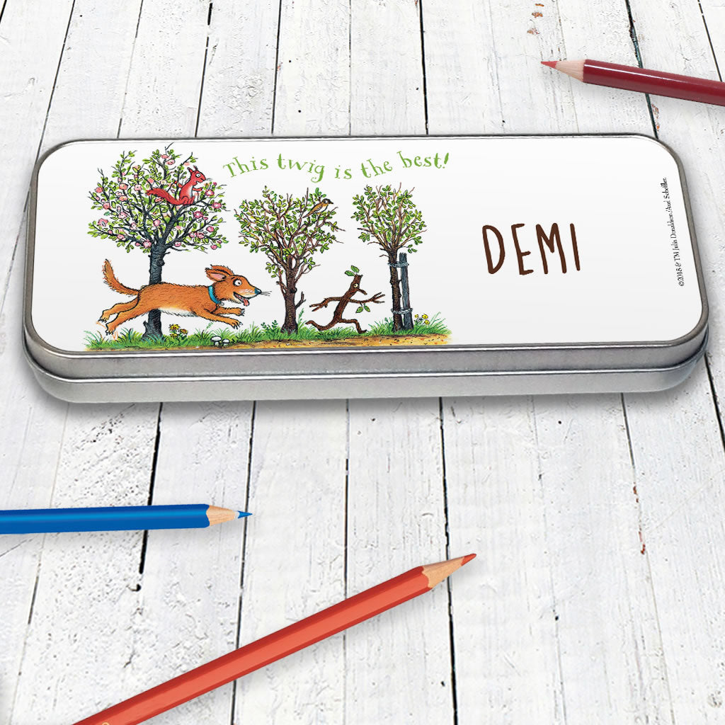 Stick Man Chase Personalised Pencil Tin (Lifestyle)