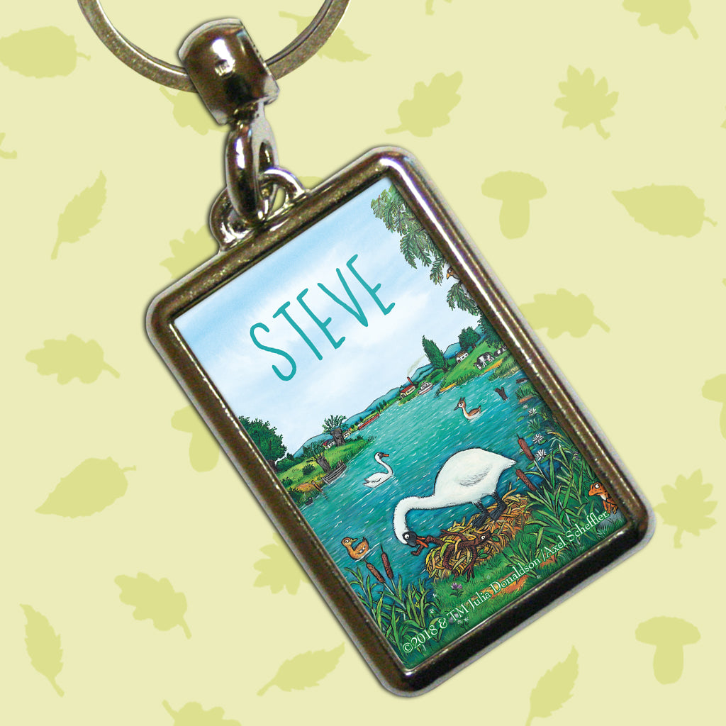 Stick Man by the Lake Personalised Metal Keyring