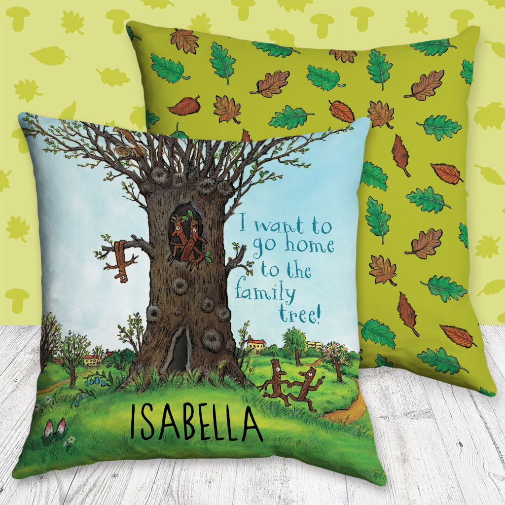 Stick Man Family Tree Personalised Cushion