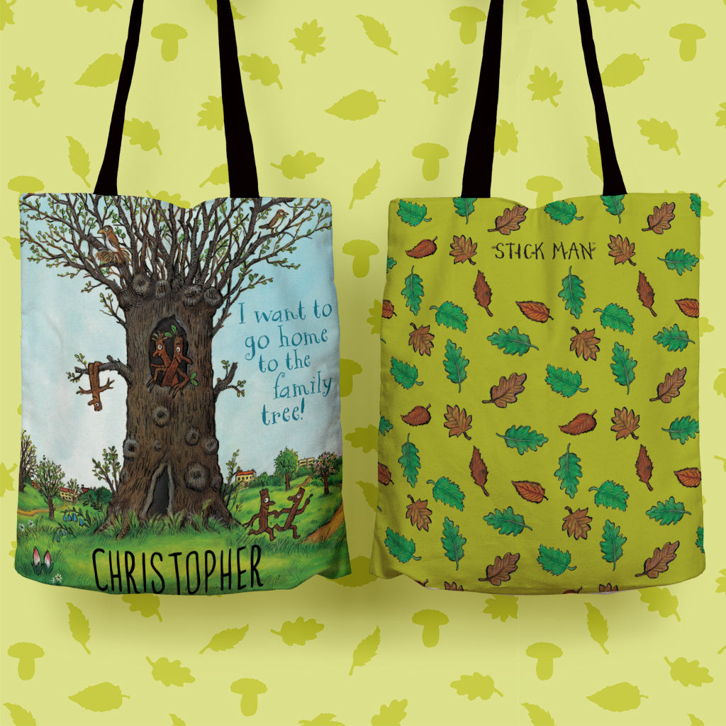 Stick Man Family Tree Personalised Edge to Edge Tote Bag