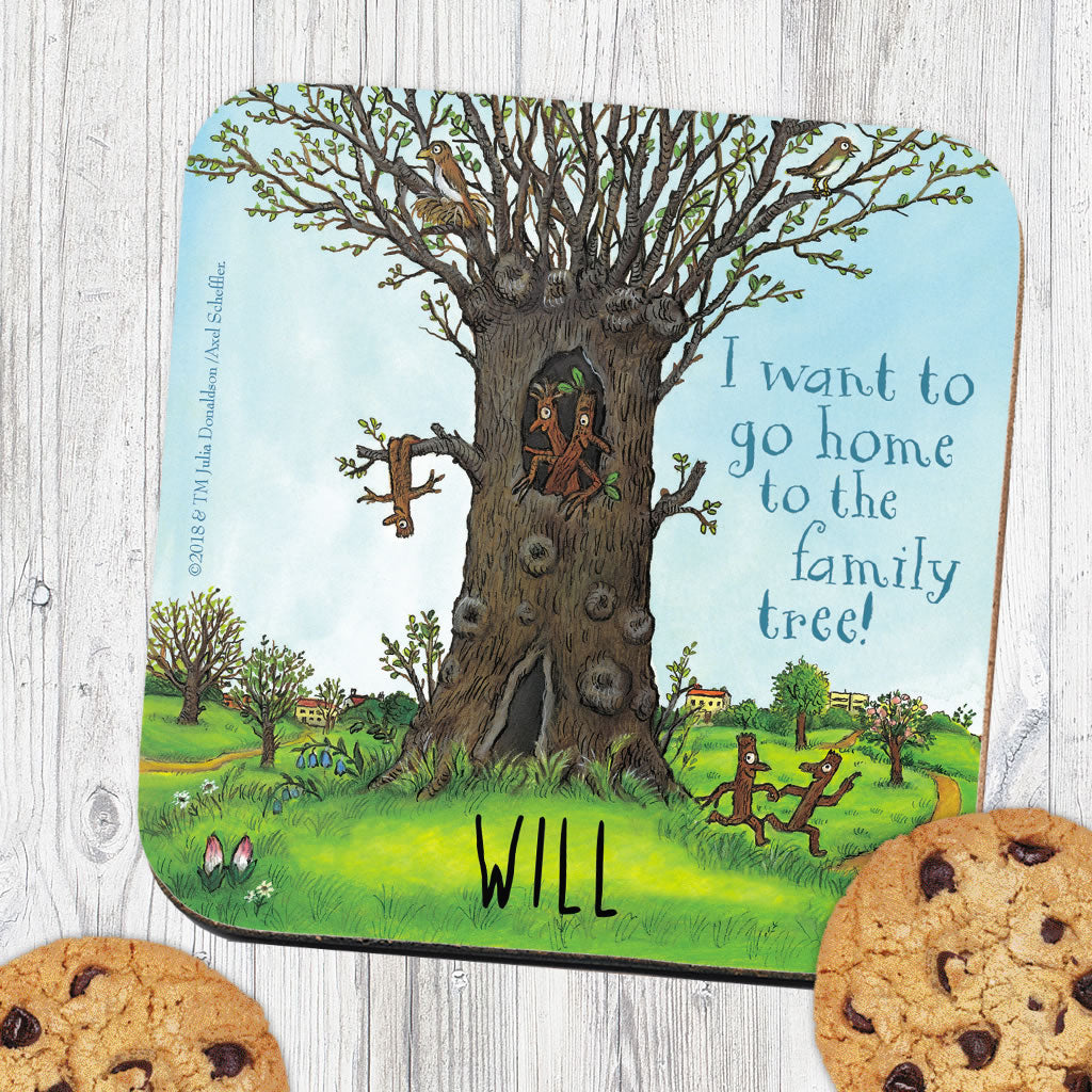 Stick Man Family Tree Personalised Coaster (Lifestyle)
