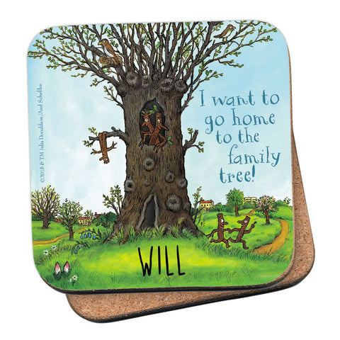 Stick Man Family Tree Personalised Coaster