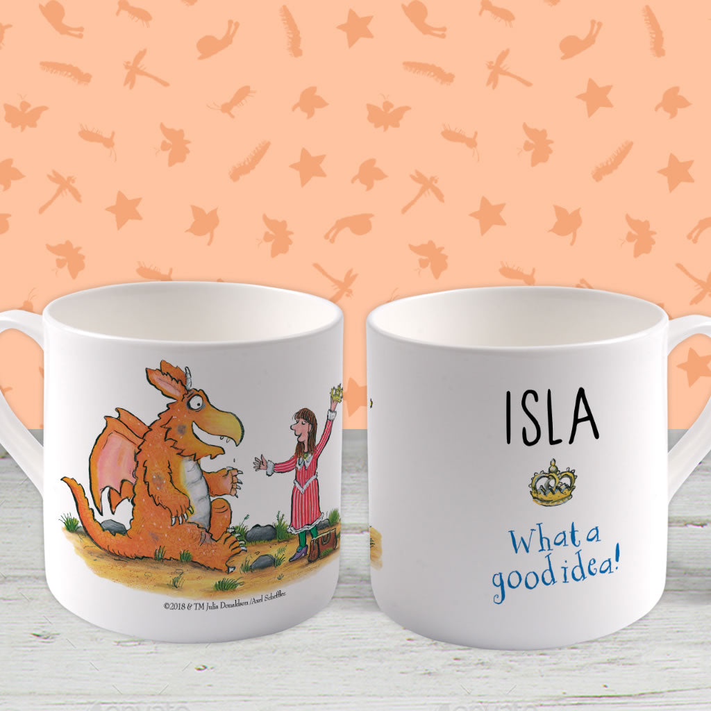 """What a good idea!"" Zog Personalised Large Bone China Mug (Lifestyle)"