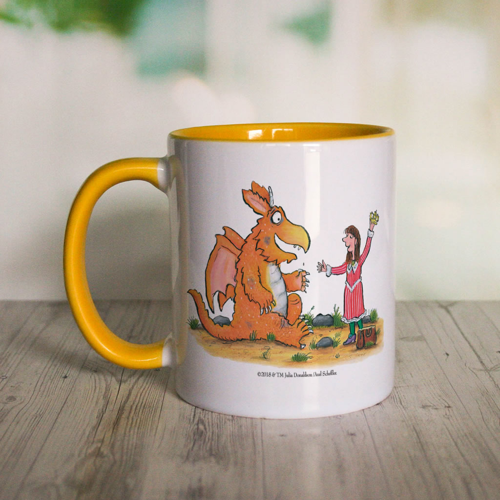 """What a good idea!"" Zog Personalised Coloured Insert Mug (Lifestyle 1)"