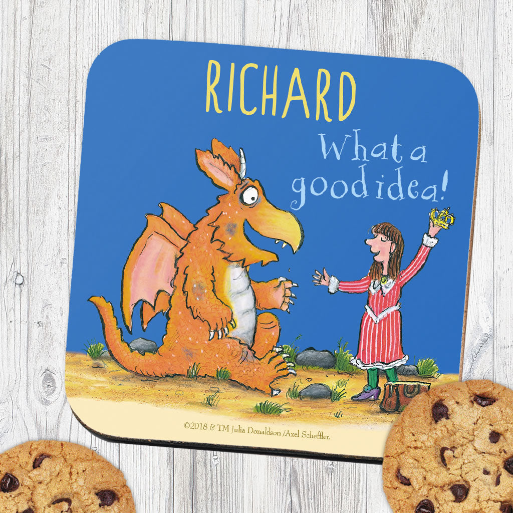 """What a good idea!"" Zog Personalised Coaster (Lifestyle)"