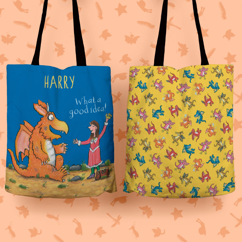 """What a good idea!"" Zog Personalised Edge to Edge Tote Bag (Lifestyle)"