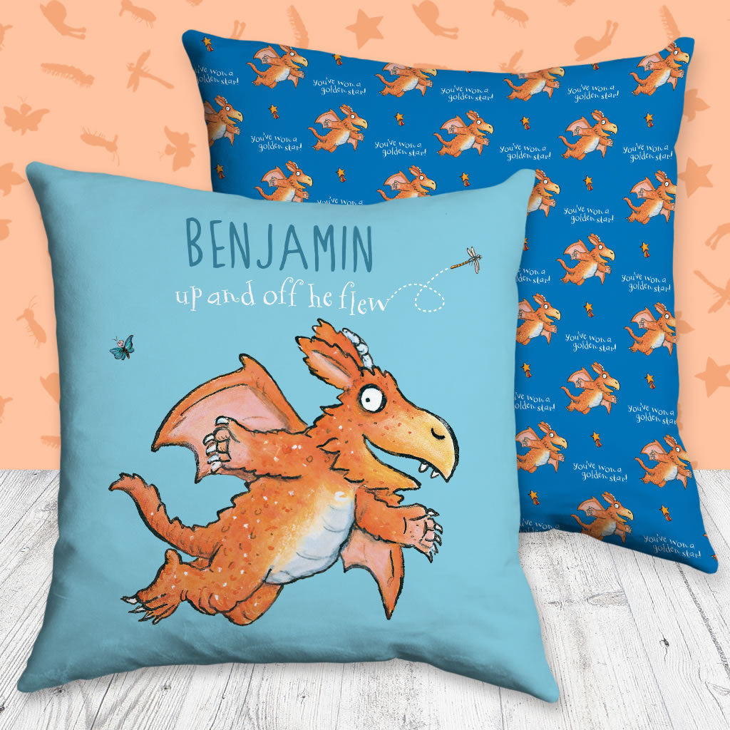 """Up and off he flew"" Zog Personalised Cushion (Lifestyle)"