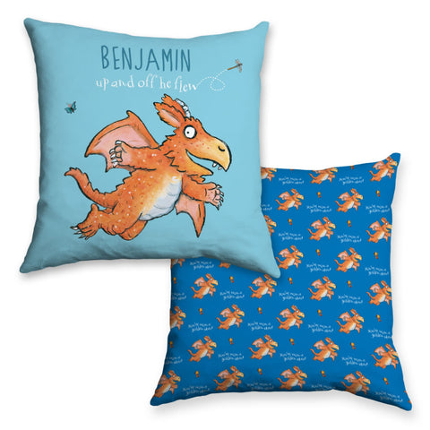 """Up and off he flew"" Zog Personalised Cushion"