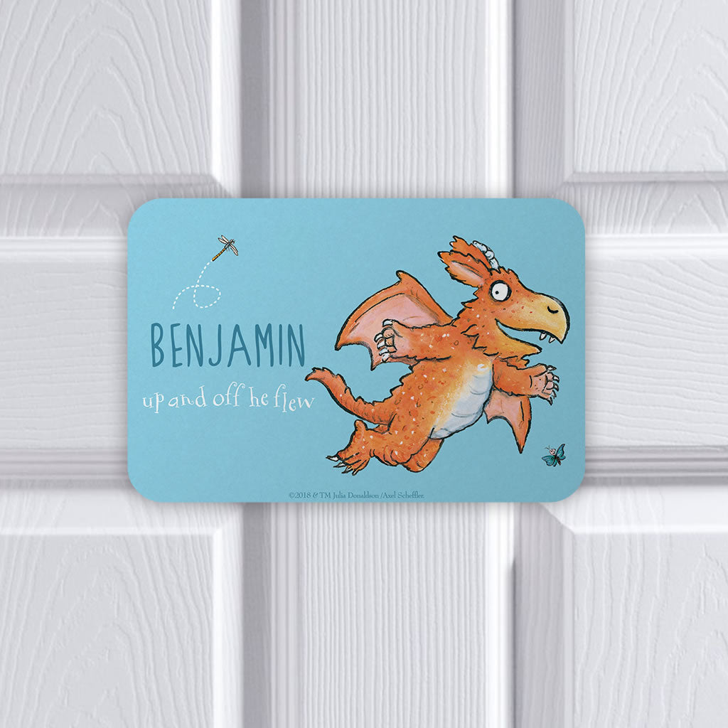 """Up and off he flew"" Zog Personalised Door Plaque (Lifestyle)"