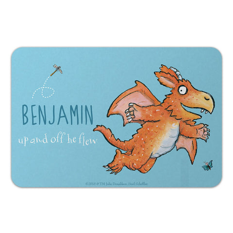 """Up and off he flew"" Zog Personalised Door Plaque"