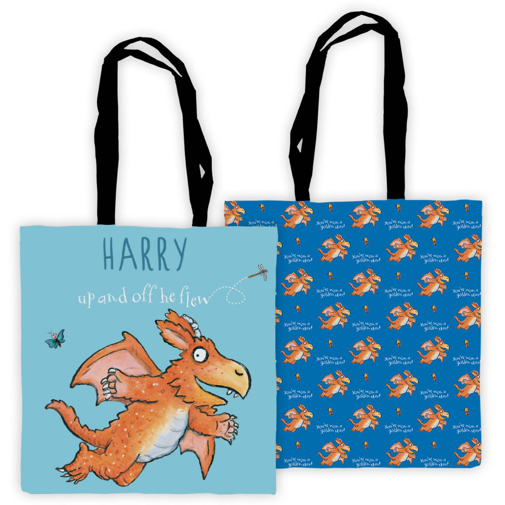 """Up and off he flew"" Zog Personalised Edge to Edge Tote Bag"