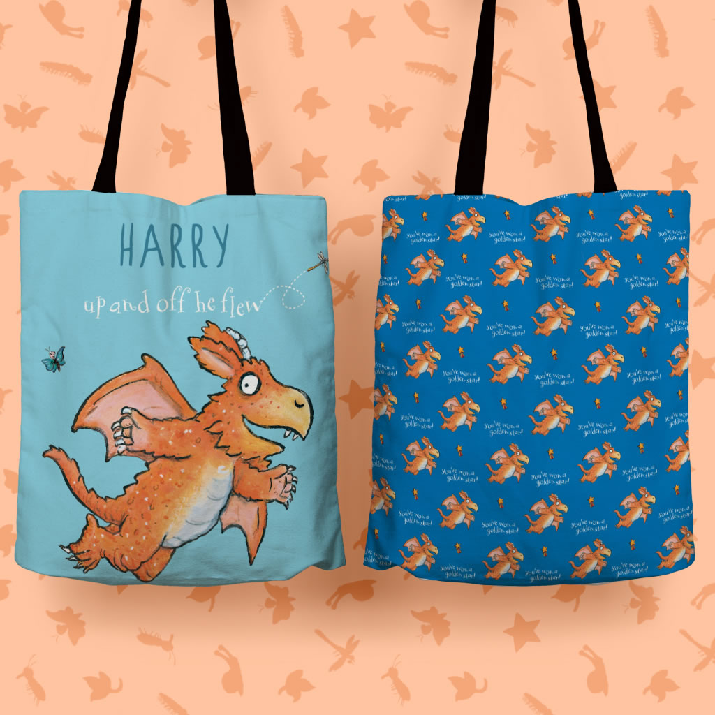 """Up and off he flew"" Zog Personalised Edge to Edge Tote Bag (Lifestyle)"