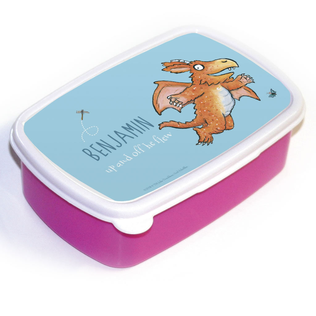 """Up and off he flew"" Zog Personalised Lunchbox"
