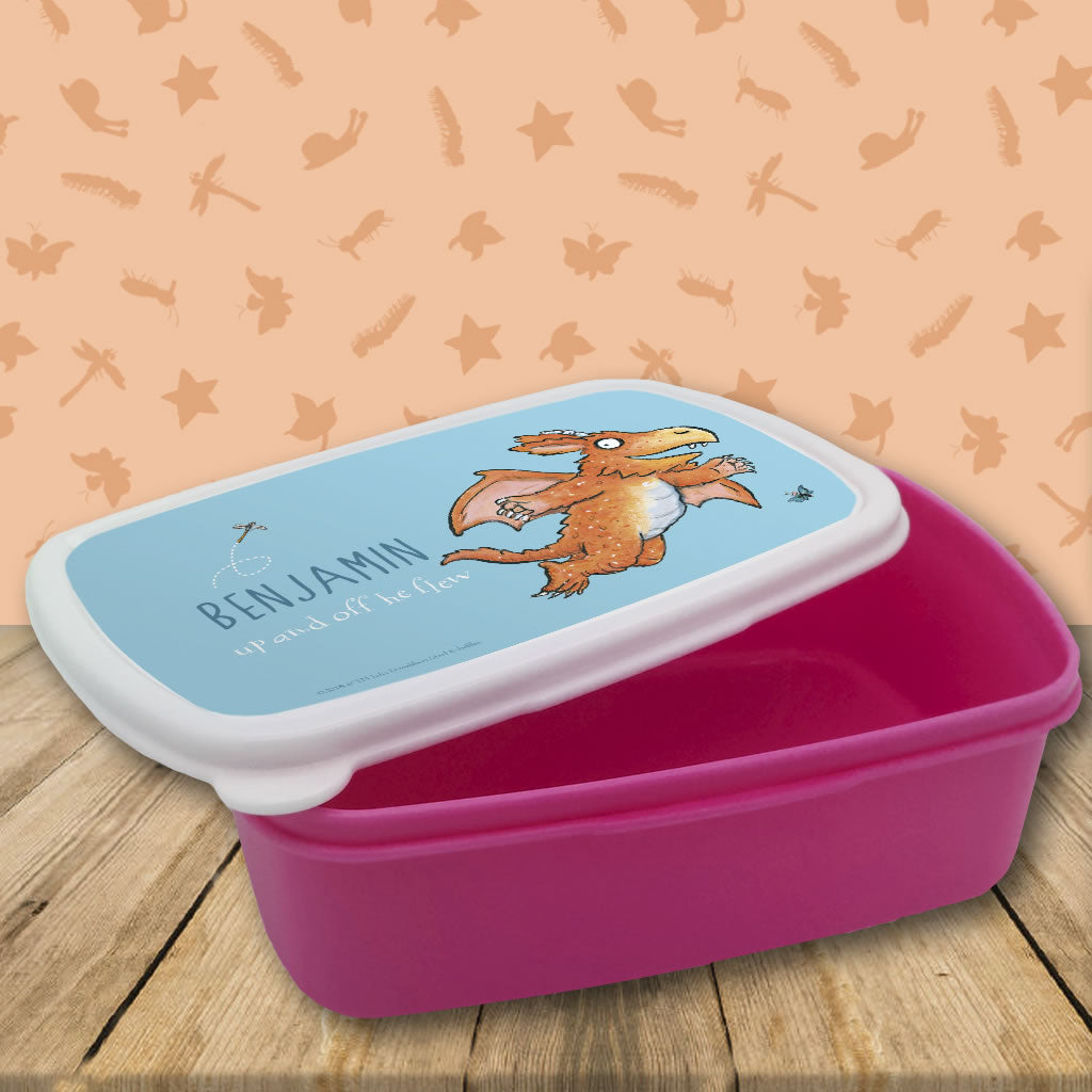 """Up and off he flew"" Zog Personalised Lunchbox (Lifestyle 1)"