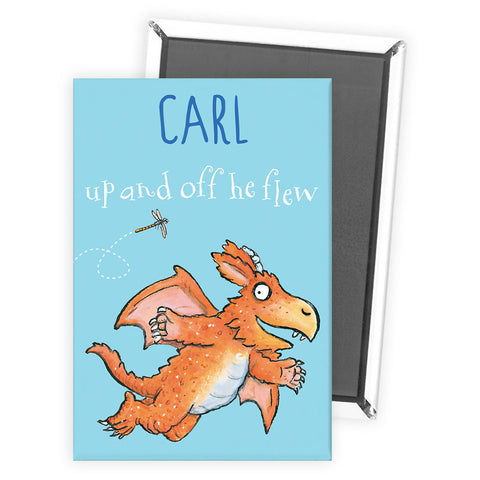 """Up and off he flew"" Zog Personalised Magnet"