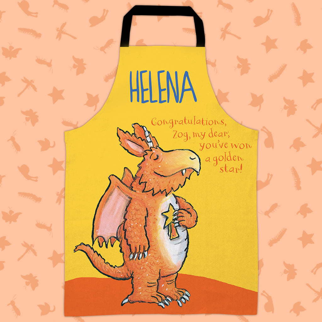 Yellow Congratulations Zog Personalised Apron (Lifestyle)