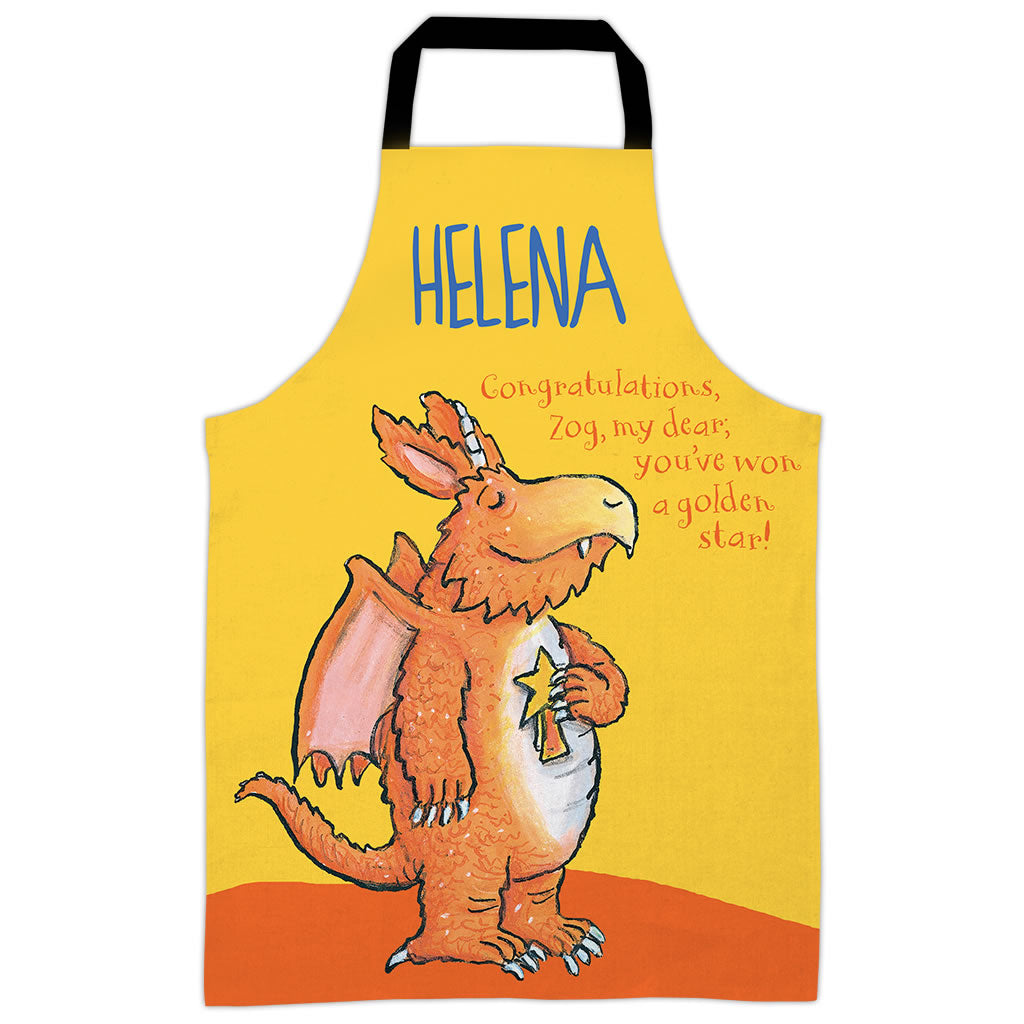 Yellow Congratulations Zog Personalised Apron