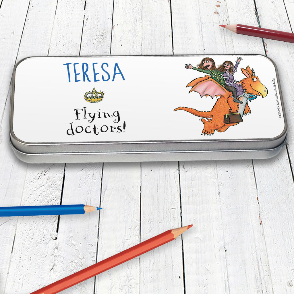 """Up and off he flew"" Zog Personalised Pencil Tin (Lifestyle)"