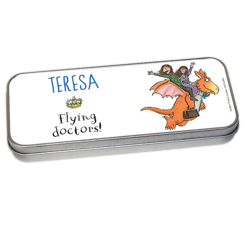 Zog and Friends Blue Zog Personalised Pencil Tin