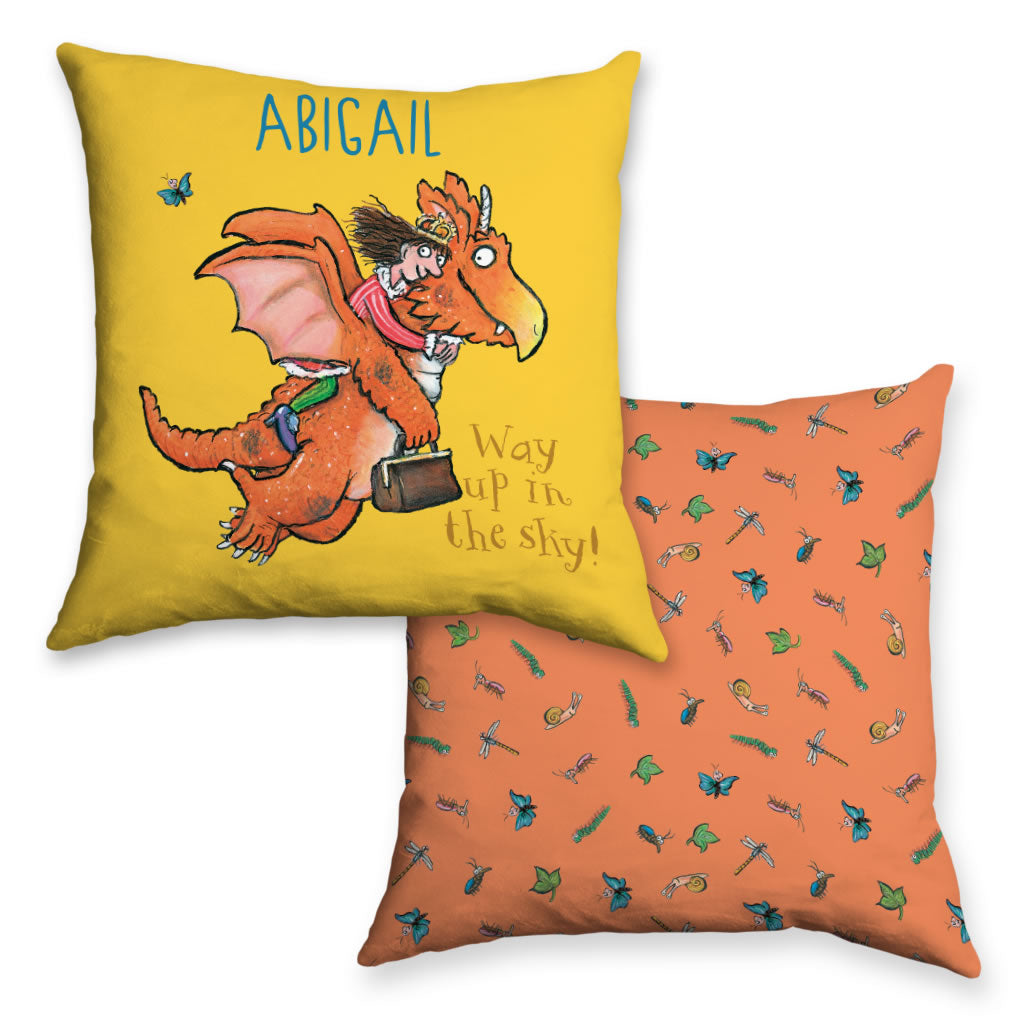 """Way up in the sky"" Zog Personalised Cushion"