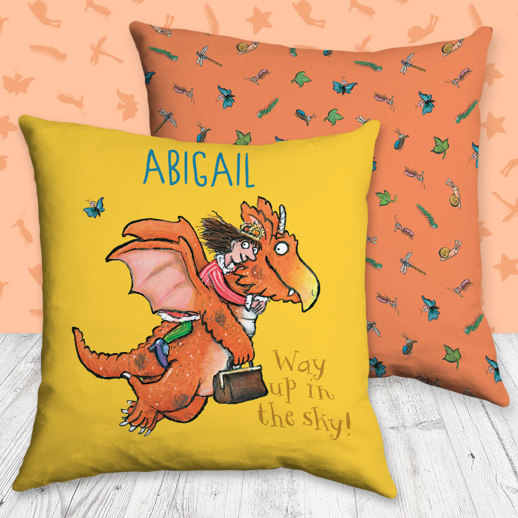 """Way up in the sky"" Zog Personalised Cushion (Lifestyle)"