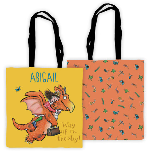 """Way up in the sky!"" Zog Personalised Edge to Edge Tote Bag"