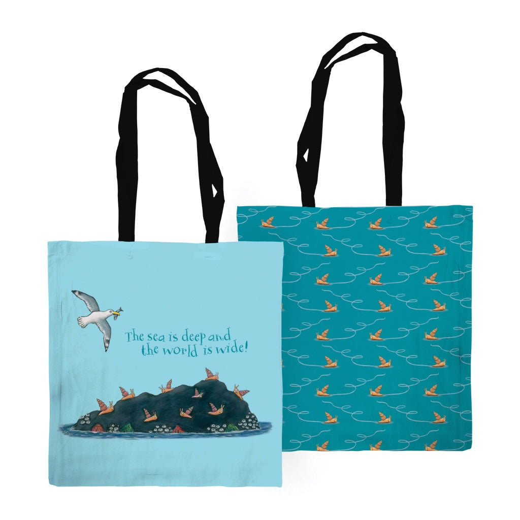 The sea is deep and the world is wide! Edge to Edge Tote Bag