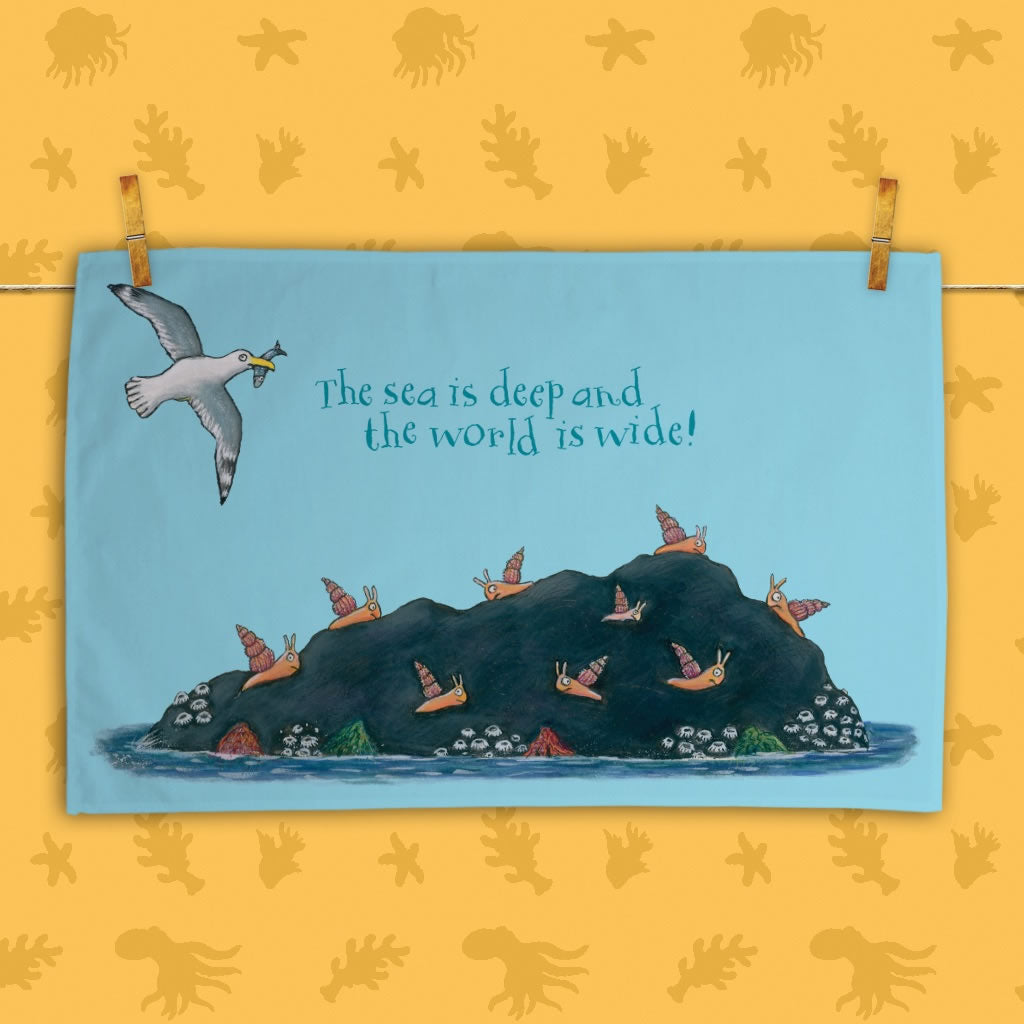 The sea is deep and the world is wide! Tea Towel 2
