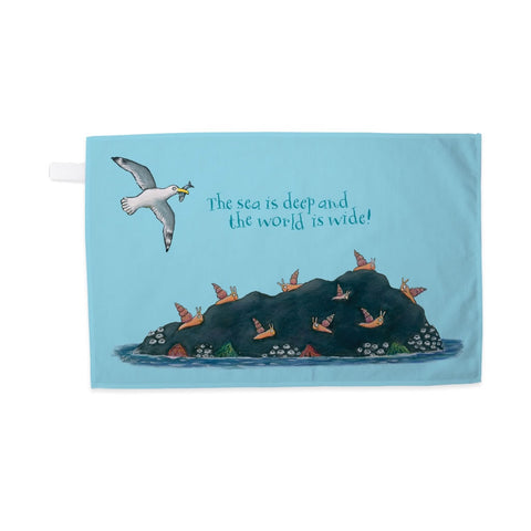 The sea is deep and the world is wide! Tea Towel