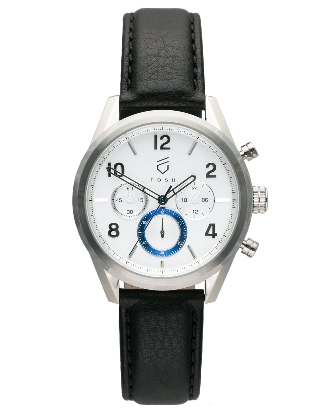 chronograph watch white and blue second hand with stainless steel case and interchangeable straps