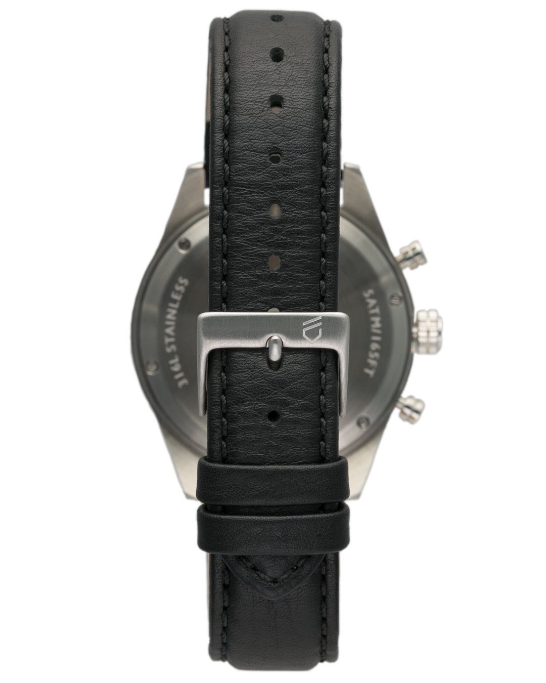 Italian leather watch strap with silver engraved buckle