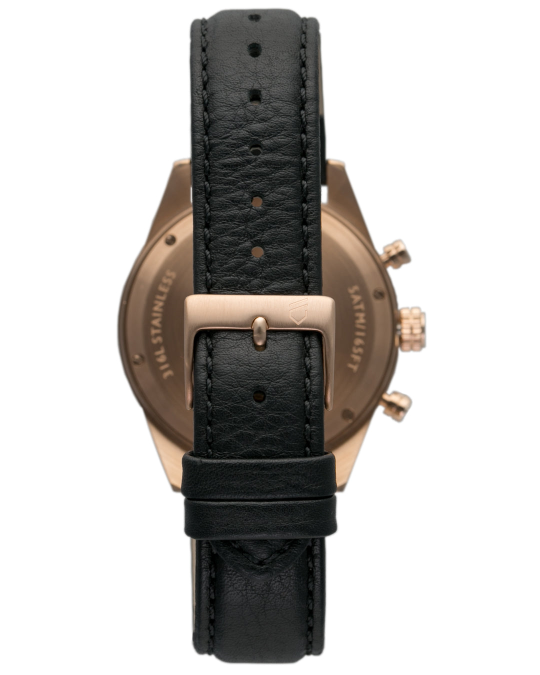 Rose gold and black chronograph watch with three hands and interchangeable leather straps
