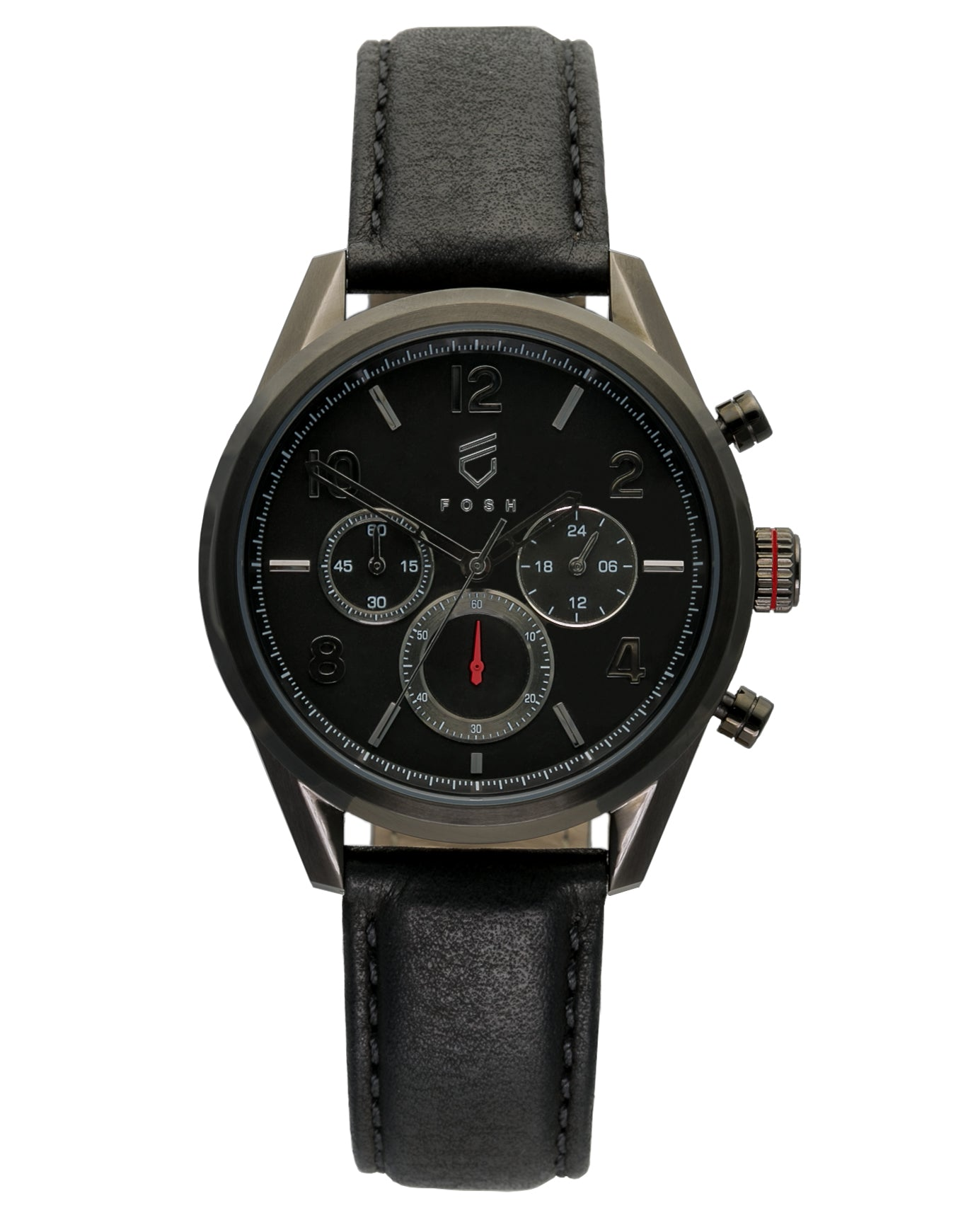 Black stainless steel chronograph watch with red second hand accents and interchangeable black leather strap
