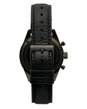 Italian leather watch strap with black engraved buckle