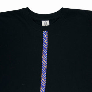 Blue Leopard Trim Crop Tee (Black Blue)