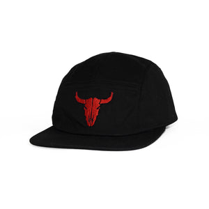 Bull Skull 5 Panel Cap (Black Red)