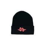 Snake Beanie (Black + Red)