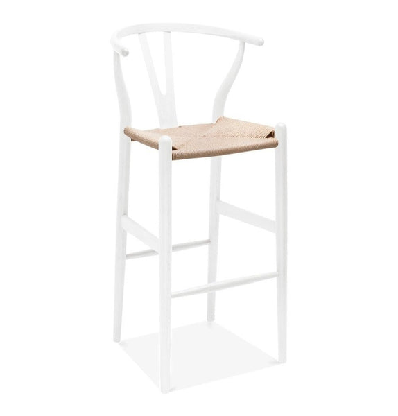 Wishbone CH24 Y Chair Bar Stool - White & Natural Paper Cord - Reproduction