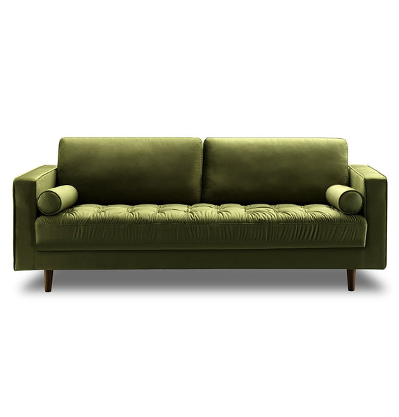 Bente Tufted Velvet 3-Seater Sofa - Green