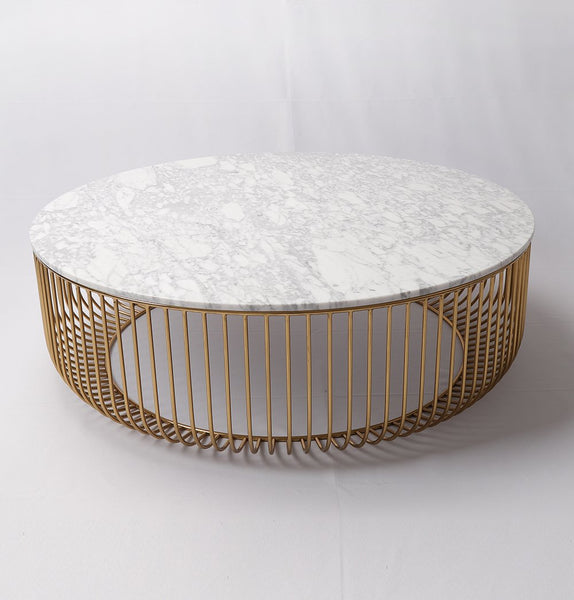 Mie Coffee Table - Carrara Marble Top & Gold Base