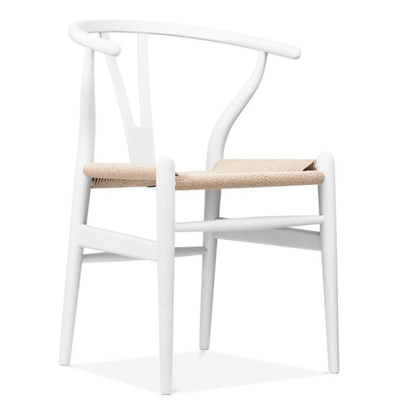 Wishbone Chair CH24 Y Chair - White & Natural Paper Cord - Reproduction