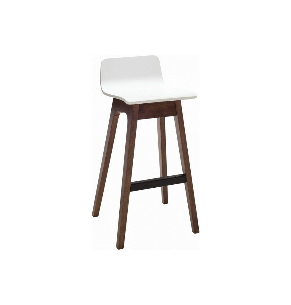 Ava Low Back Bar Stool - Walnut & White