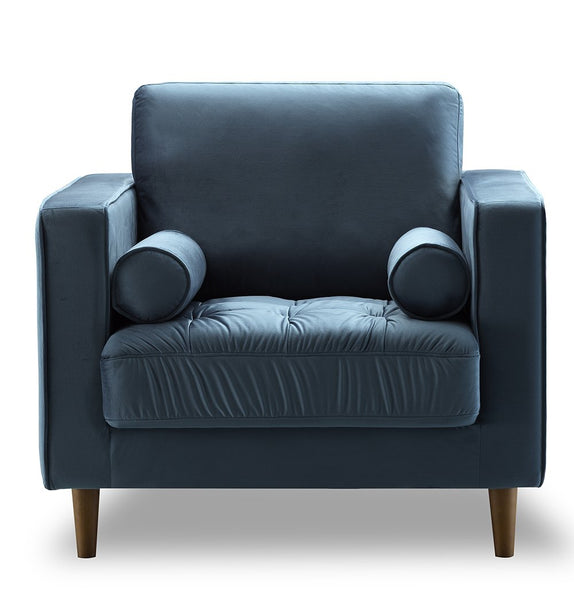 Bente Tufted Velvet Lounge Chair - Light Blue