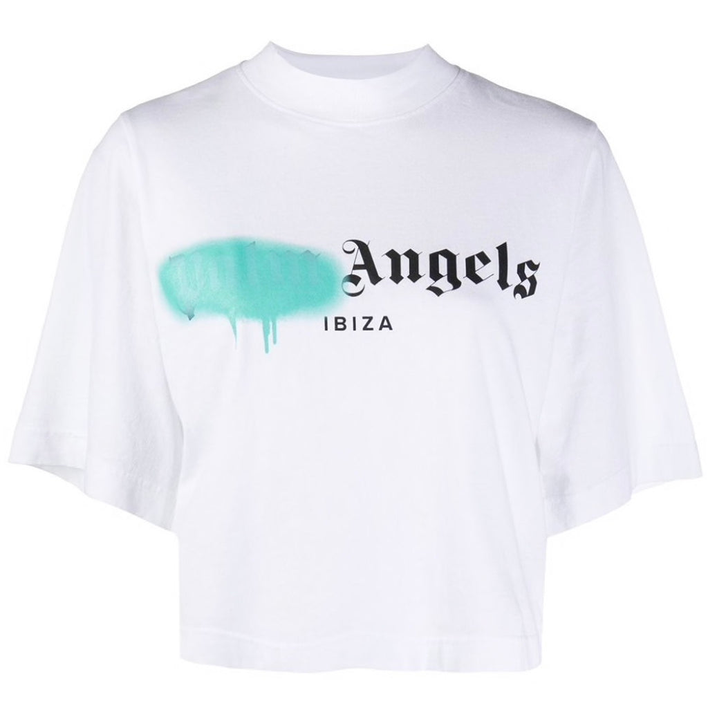 Palm Angels Turquoise Spray Tee