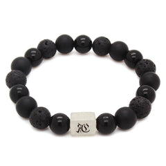 Classic Lava Onyx men beaded bracelet