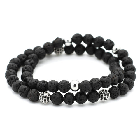 Double Beaded Men Bracelet