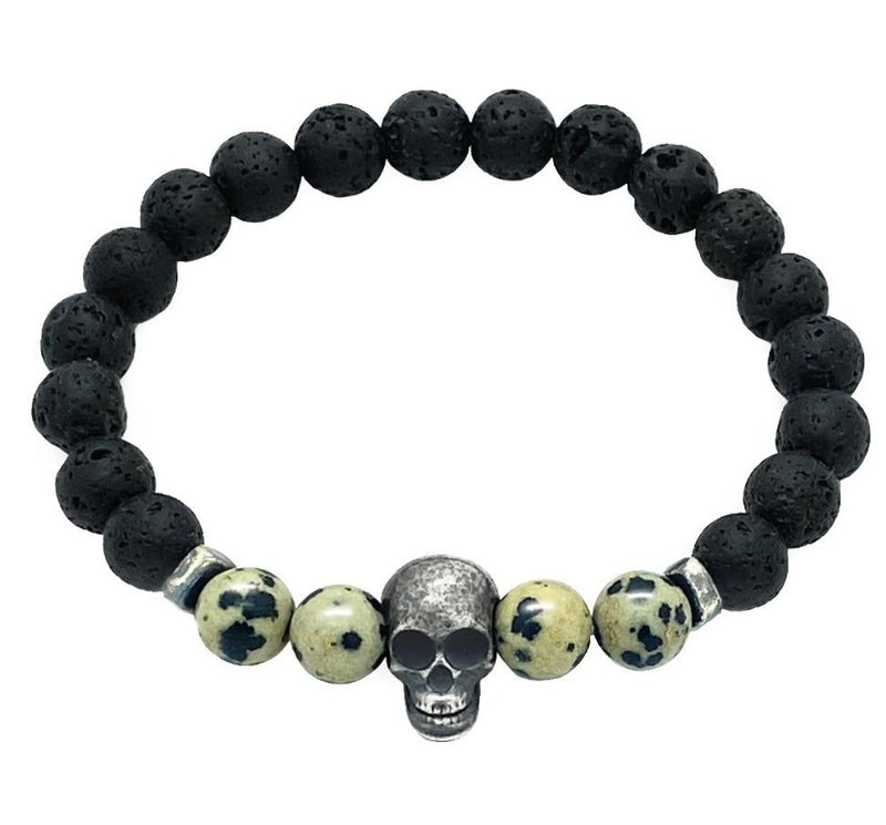 Dalmatian & Lava Stones with Silver Skull Bracelet Roano Collection